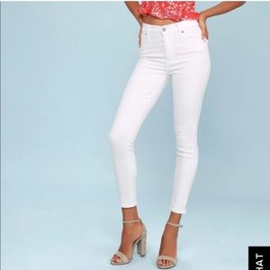 Free people high waisted white skinny jeans 28
